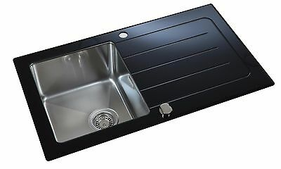 REVERSIBLE BLACK GLASS & Steel 1 Bowl Inset Kitchen Sink & Drainer ...