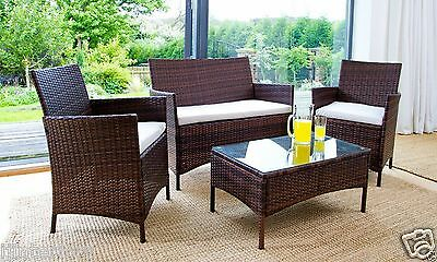 Rattan Garden Furniture Set 4 Piece Chairs Sofa Table Outdoor Patio Set 2