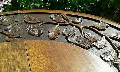 Antique Gateleg Oak Table  Drop Leave Table With Chinese  carved Top☆Very Rare 8