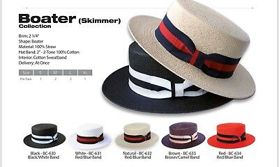 New Men's Bruno Capelo Hat Straw Boater Gatsby barbershop skimmer Fashion Colors 9