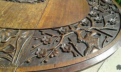 Antique Gateleg Oak Table  Drop Leave Table With Chinese  carved Top☆Very Rare 7