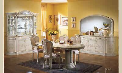 ECKVITRINE ECKSCHRANK WOHNZIMMER Esszimmer Beige Hochglanz Italienische  Möbel