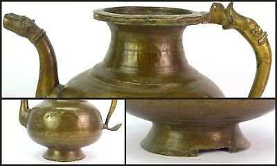Antique Handcrafted Old Indian Rare Mughal Brass Pot/Vessel With Spout. G3-50 US 5
