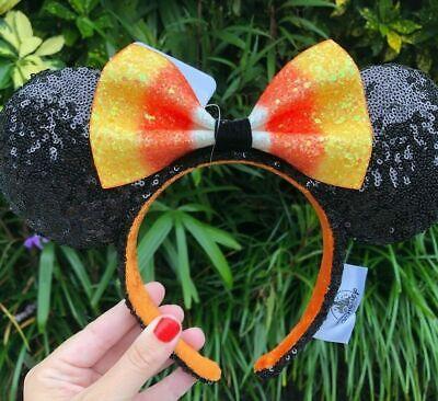 Disney Parks Halloween Candy Corn Minnie Ears With Bow Headband 2019 2