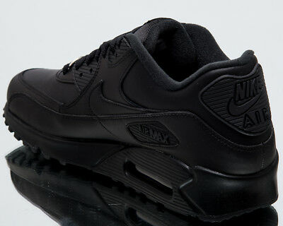 NIKE AIR MAX 90 Leather Men New Shoes Mens Casual Black Sneakers 302519 001