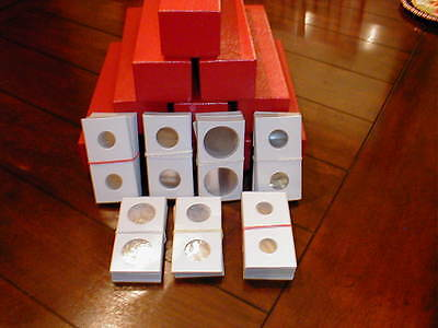 1000 2x2 Assorted New Cardboard Coin Holders Flips + 10 New Red Storage Boxes