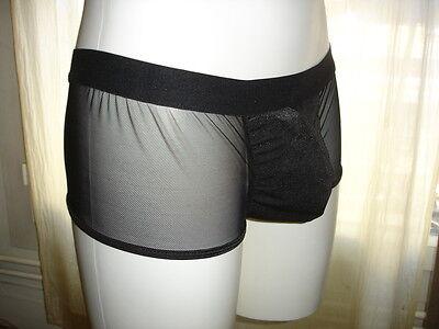 Boxer Shorty noir transparent  tour de taille 67-100 cm sexy Ref 688 gay inte