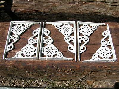 6 Small Cast Iron Wall Brackets Corbels white shelf Braces 7