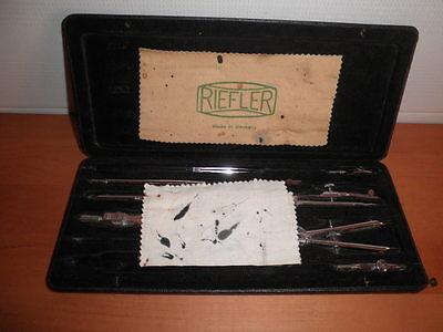 Juego De Compases Y Tiralineas Vintage Riefler Alemanes Germany 27X11X2 Cms. C36 7
