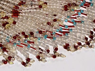 Vintage Czech double layer glass fringe beaded gold tone ceiling chandelier 8