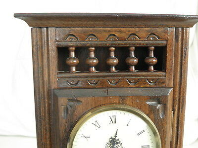 STUNNING ANTIQUE MINIATURE wood MANTLE CLOCK vintage retro uhr 6