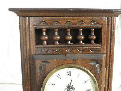 STUNNING ANTIQUE MINIATURE wood MANTLE CLOCK vintage retro uhr 6