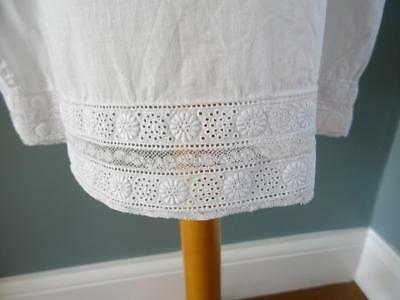 Antique Petticoat Victorian Young Girls White Cotton Embroidered Lace 8