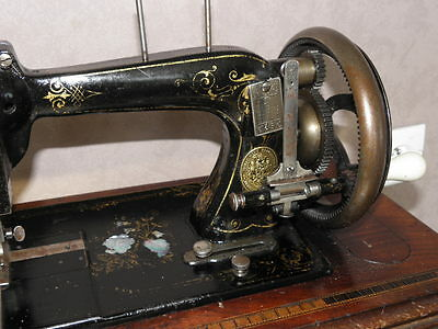 ANTIQUE SEWING MACHINE Winselmann old Hand Crank TOOLS vintage century iron 5