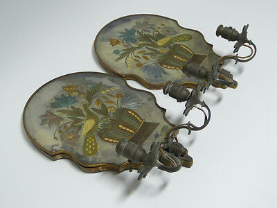 Pair of Wheel Cut Gilded Electric Candle Wall Sconces Sterling Bronze New York 5