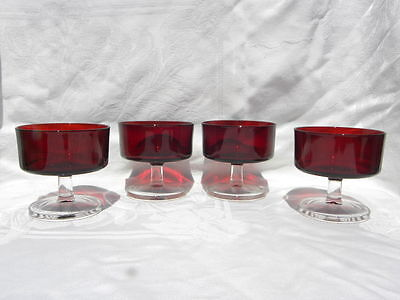 4 Vintage Ruby Red Glass Arcoroc France Sherbets