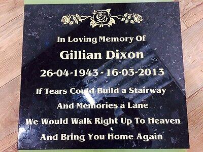 Granite Bespoke cremation memorial stones,Grave Marker, Plaque 12mmx300mmx300mm 4