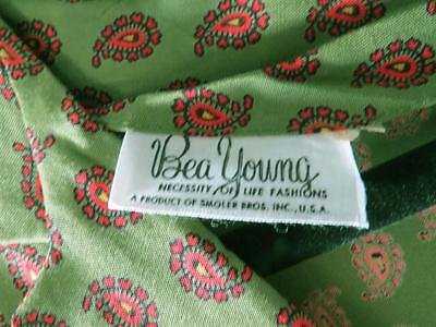 Rare Vintage Deadstock Never Worn 1950'S Green Rayon Paisley Print Dress Size 8 3