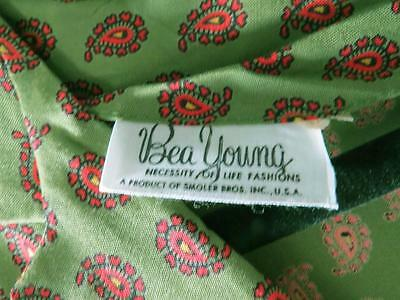 Rare Vintage Deadstock Never Worn 1950's Green Rayon Paisley Print Dress Size 8