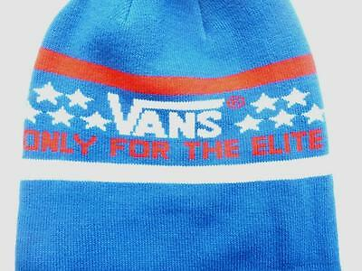 2935bd226 VANS OFF THE Wall Elite Pom Cuff Beanie Red White Blue Mens Cap Hat New NWT