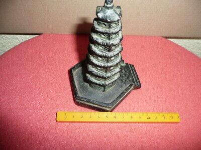 Antique Small Cast Bronze Chinese Temple,Pagoda,Sticks Incense Burner,NicePatina 11