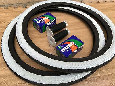 """PAIR of 20/"""" BMX Bicycle Black and White Street Tires /& Tubes 20x1.95 *FREE GRIPS"""