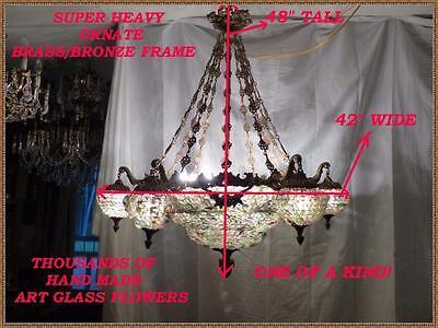 Vintage Antique Brass Bronze European Chandelier Very Large 24 Light HUGE! 4