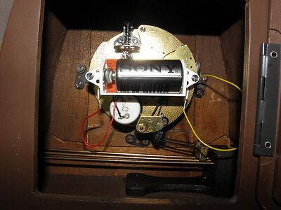 vintage mantel wood clock CHIMING HERMLE Electro-Mechanical Battery art deco vtg 9