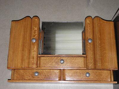 Vintage Shelf stand Cabinet Cupboard Furniture Makeup Storage Mirror old wood 7