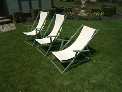 3 Vintage Painted Mahogany Seaside Canvas Lounging Chairs 5