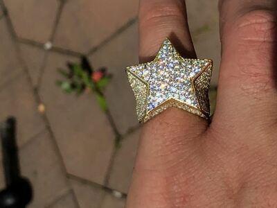 Solid 925 Silver Men/'s Women/'s Hip Hop Rapper 3D STAR Diamond Pinky RING Pinky