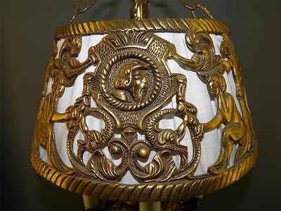 Antique Deco Spanish Egyptian Revival Figural Dragons Chandelier Light Fixture 4