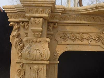 Beautiful Hand Carved Marble European Design Marble Figural Fireplace Mantel 4