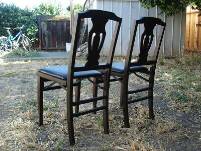 2 Solid Kumfort Antique wooden Folding Chairs USA patent Louis Rastetter & Sons 8