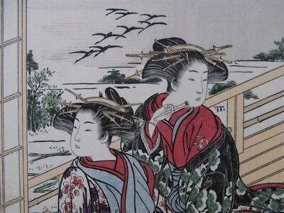Japanese Prostitutes Woodblock Print Artists Shigemasa & Shunsho Makeup Scroll 8