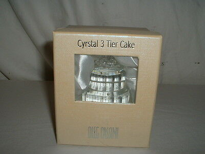 Oleg Cassini Faceted Crystal 3 Tier Wedding Cake Favor//Paperweight NIB
