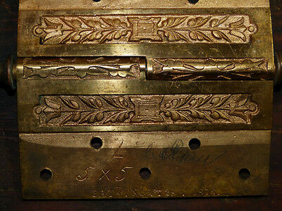 Matched Pair Circa 1876 Cast Bronze  Hinges By Corbin Left Hand 5