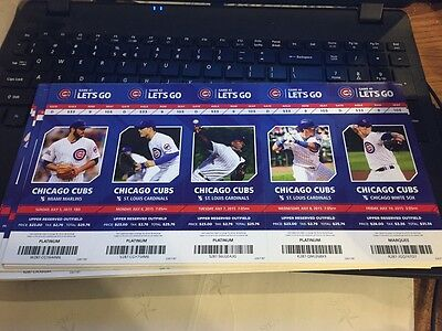 2015 Chicago Cubs Season Ticket Stub Pick Your Game Bryant Arrieta Rizzo Soler 9