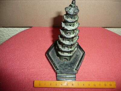 Antique Small Cast Bronze Chinese Temple,Pagoda,Sticks Incense Burner,NicePatina 10