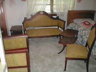 Antique 3 Piece Parlor Set 1894 & 2/2 Tear Tables 3