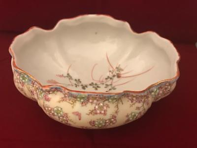 "AA Vantine Nippon Era 8"" Footed Low Bowl w Raised Enamel Flowers and Butterflies 2"