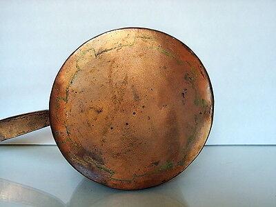 "c.1880 Polish-Ukrainian antique Wrough-copper pan Hebrew insc."" Sarah L."" 4"