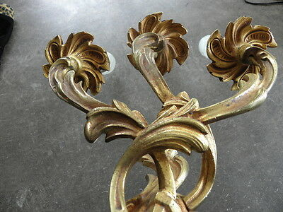 French exquisite ornate patina bronze wall  sconces divine antique old 7 • CAD $226.80