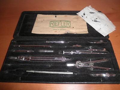 Juego De Compases Y Tiralineas Vintage Riefler Alemanes Germany 27X11X2 Cms. C36 11
