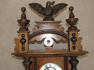 antique Clock Vienna Regulator German Wall Clock Chime horloge circa old d.r p 12