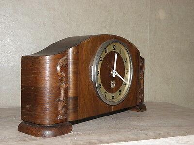 vintage wood clock  Electro-Mechanical Battery art deco vtg retro old carved 3
