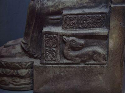 ENTHRONED BUDDHA 'EUROPEAN STYLE' SANDSTONE STONE. MON DVARAVATI PERIOD 11/12thC 6