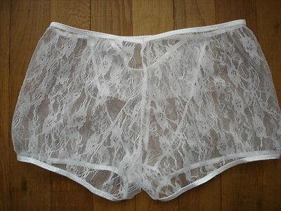 Boxer blanc creme dentelle transparent tour de taille 65-100 cm sexy Ref S22