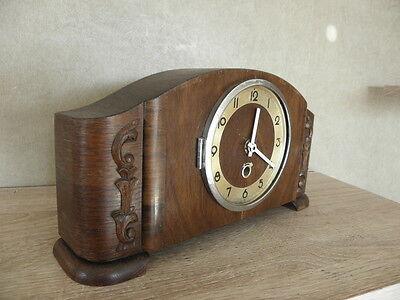 vintage wood clock  Electro-Mechanical Battery art deco vtg retro old carved 9