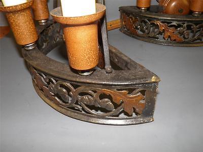 Antique Bronze Gothic Arts& Crafts Pr Sconces Lights Cold Painted Acorns Shield 9